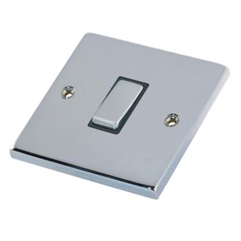 Polished Chrome & Black Light Switch  - 1 Gang 2 Way Single