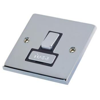 Polished Chrome & Black 13A Fused Spur Connection Unit  - Switched