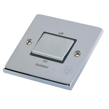 Polished Chrome & Black TP Fan Isolator Switch  - 3 Pole