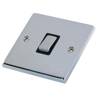 Polished Chrome & Black 20A DP Isolator Switch  - Without Neon
