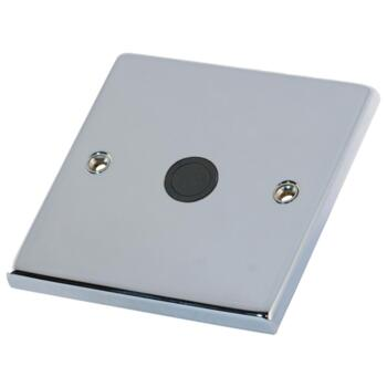 Polished Chrome & Black 20A Flex Outlet Connection Plate  - 1 Gang Single