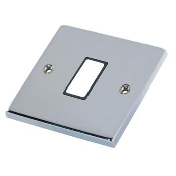 Polished Chrome & Black Build Your Own Light Switch  - 1 Gang Single Empty plate