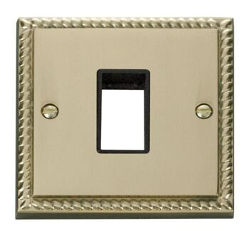 Georgian Brass Empty Grid Switch Plate - 1 module with black interior