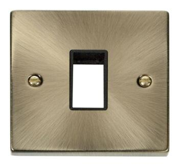 Antique Brass Empty Grid Switch Plate - 1 module with black interior