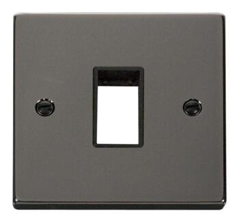 Black Nickel Empty Grid Switch Plate - 1 module with black interior