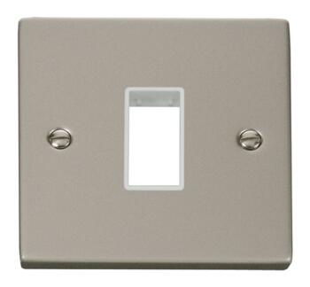 Pearl Nickel Empty Grid Switch Plate - 1 module with white interior