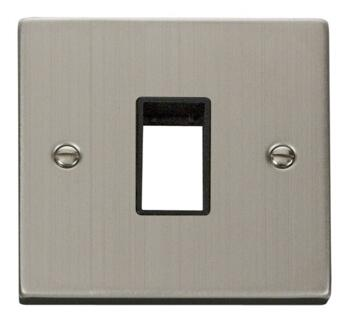 Stainless Steel Empty Grid Switch Plate - 1 module with black interior