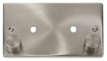 Dimmer Mounting Plate Unfurnished 2 Gang Twin - Satin Chrome