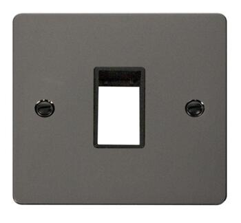1 Gang Mini Grid Flat Plate - Single Aperture - Black Nickel with Black Interior
