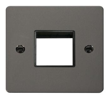 1 Gang Mini Grid Flat Plate - Twin Switch Aperture - Black Nickel with Black Interior
