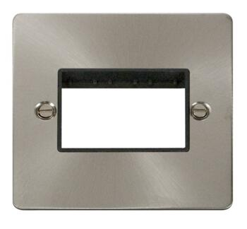 1 Gang Mini Grid Flat Plate - Triple Aperture - Brushed Stainless Steel with Black Interior