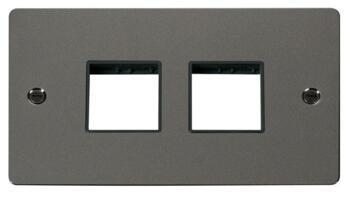 2 Gang Mini Grid Flat Plate  2 + 2 Switch Aperture - Black Nickel with Black Interior