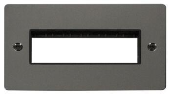 2 Gang Mini Grid Flat Plate - 6 In-Line Aperture - Black Nickel with Black Interior