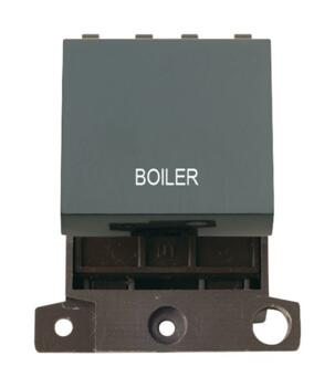 Mini Grid 20A DP Switch Printed - Black - Boiler