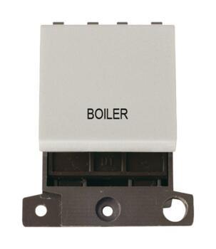 Mini Grid 20A DP Switch Printed - Click White - Boiler