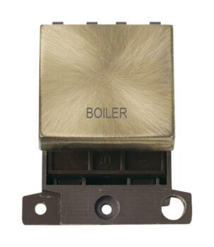 Mini Grid Antique Brass 20A DP Ingot Switch Module - Boiler