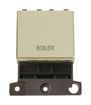 Mini Grid Polished Brass 20A DP Ingot Switch  - Boiler