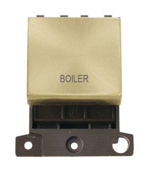 Mini Grid Satin Brass 20A DP Ingot Switch Module - Boiler