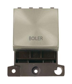 Mini Grid Satin Chrome 20A DP Ingot Switch Module - Boiler