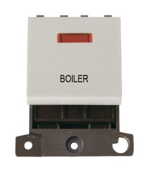 Mini Grid 20A DP Switch Neon Printed - Click White - Boiler