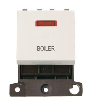 Mini Grid 20A DP Switch Neon Printed - Polar White - Boiler