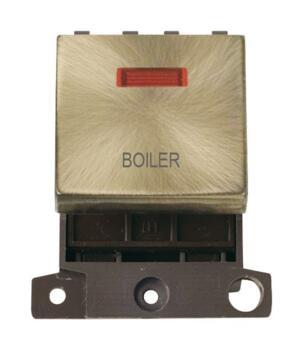 Mini Grid Antique Brass 20A DP Ingot Switch Neon - Boiler