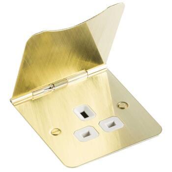 Brushed Satin Brass Floor Socket - Single