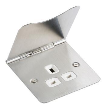 Brushed Satin Chrome Floor Socket - Single
