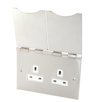 Satin Chrome 13A Floor Socket Outlet - 2 Gang Unswitched