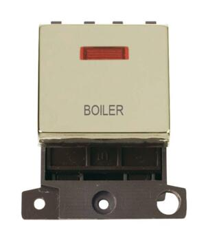 Mini Grid Polished Brass 20A DP Ingot Switch Neon - Boiler