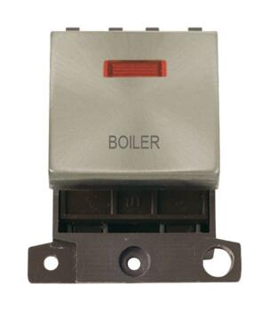Mini Grid Brushed Steel 20A DP Ingot Switch Neon - Boiler