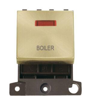 Mini Grid Satin Brass 20A DP Ingot Switch Neon - Boiler