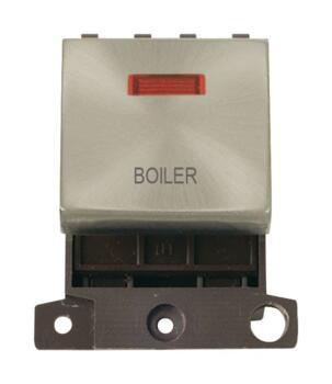 Mini Grid Satin Chrome 20A DP Ingot Switch Neon - Boiler
