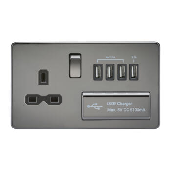 Screwless Black Nickel Single Switched Socket With Quad USB Charger - Black Nickel With Chrome Rocker