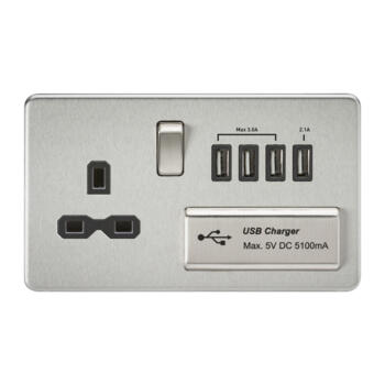 Screwless Brushed Chrome Single Switched Socket With Quad USB Charger - With Black Interior