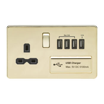 Screwless Polished Brass Single Switched Socket With Quad USB Charger - With Black Interior