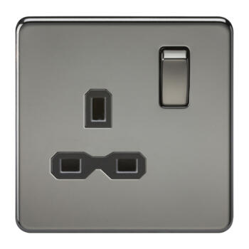 Screwless Black Nickel Single Switched Socket - 1 Gang DP Switched Socket