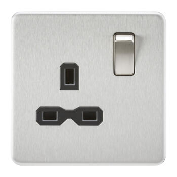Screwless Brushed Chrome Single Switched Socket - With Black Interior