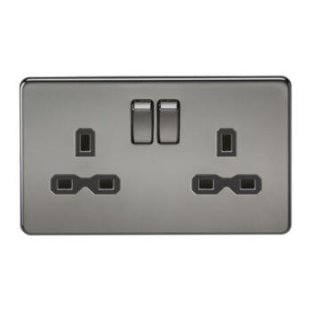 Screwless Black Nickel Double Switched Socket - With Black Interior