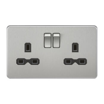 Screwless Brushed Chrome Double Switched Socket - With Black Interior