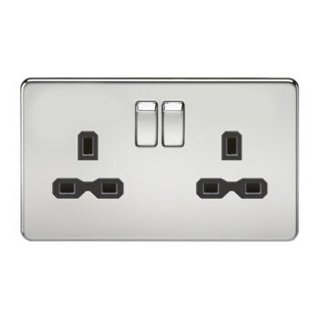 Screwless Polished Chrome Double Switched Socket - With Black Interior