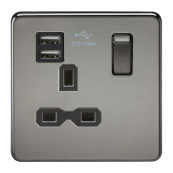 Screwless Black Nickel Single Switched Socket With Dual USB Charger - Black Nickel With Chrome Rocker