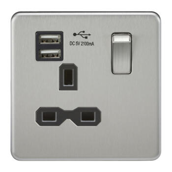 Screwless Brushed Chrome Single Switched Socket With Dual USB Charger - With Black Interior