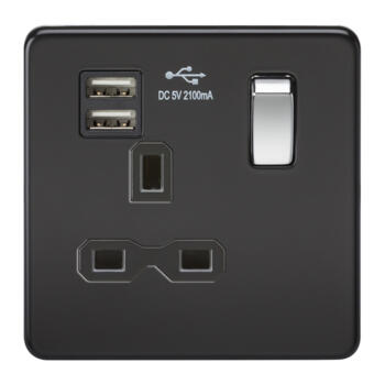 Screwless Matt Black Single Switched Socket With Dual USB Charger - Matt Black With Chrome Rocker