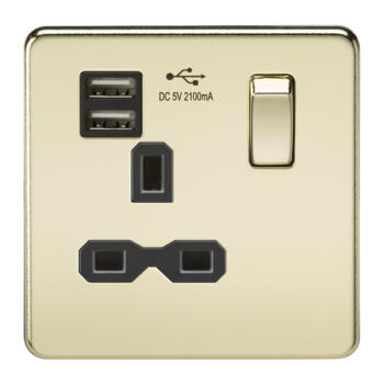 Screwless Polished Brass Single Switched Socket With USB Charger - With Black Interior