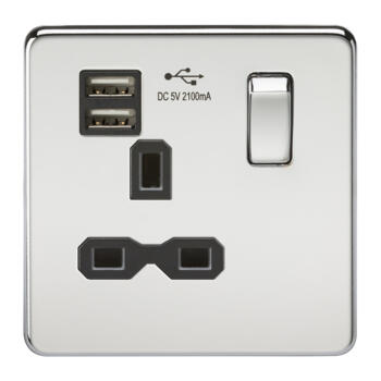 Screwless Polished Chrome Single Switched Socket With Dual USB Charger - With Black Interior
