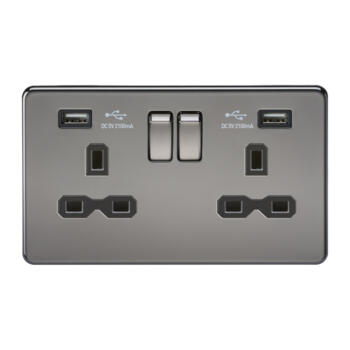 Screwless Black Nickel Double Switched Socket With Dual USB Charger - Black Nickel With Chrome Rocker