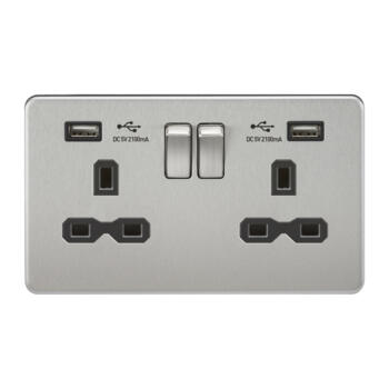 Screwless Brushed Chrome Double Switched Socket With Dual USB Charger - With Black Interior
