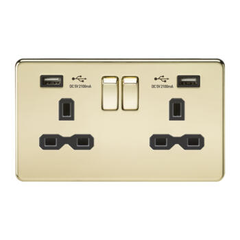 Screwless Polished Brass Double Switched Socket With Dual USB Charger - With Black Interior