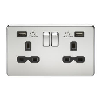 Screwless Polished Chrome Double Switched Socket With Dual USB Charger - With Black Interior